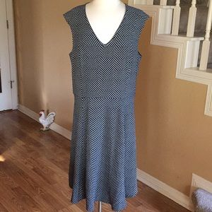 Ann Taylor Navy & White Dress Sz 16 Tall
